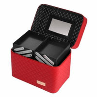 Professional Leather Makeup Case Cosmetic Organizer Storage Box w/ Extendable Tray CCGE