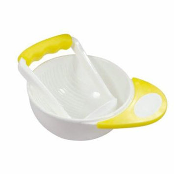 Jeobest Baby Food Grinding Bowl - Baby Food Masher Bowl - Baby Mash and Serve Bowl - Baby Manual Food Fruit and Vegetable Baby Food Supplement Grinding Bowl and Grinding Stick Kit Yellow White MZ