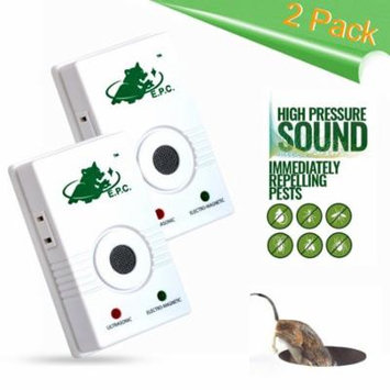 2-Piece Ultrasonic Pest Repeller Insect Pests Repellent with Extra Socket, NOT Take up Your Outlet and Protect Your House from All Indoor Pests like Rodents / Rats / Mouse / Roach / Crickets / Fleas