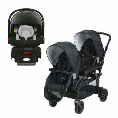 Graco Click Connect Convertible Double Stroller + Infant Click Connect Car Seat