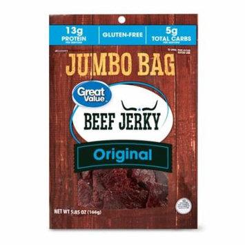 Great Value Beef Jerky, Original, Jumbo Bag, 5.85 oz