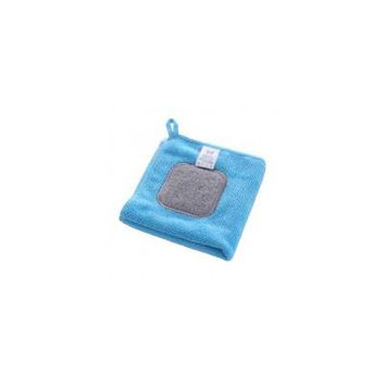Jeobest 1PC Kitchen Cleaning Towel - Kitchen Cleaning Cloth Towel 2 in 1 Microfiber+Scouring Pad Dishcloth with Convenient Hanging Loop Super Absorption Durable Towel Kitchen Washing Cloth Blue MZ