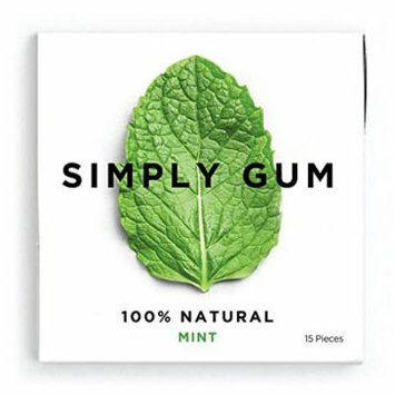 Simply Gum Mint Natural Chewing Gum - Non GMO, Vegan, 3 Packs (45 Pieces)