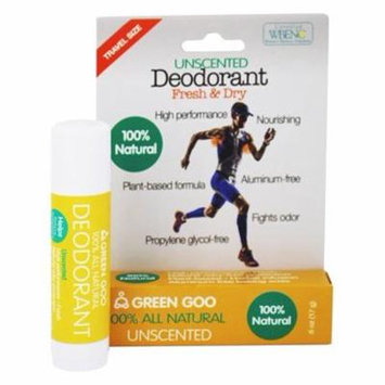 100% All Natural Deodorant Travel Stick Unscented - 0.6 oz. by Green Goo (pack of 2)