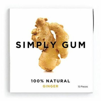 Simply Gum Ginger Natural Chewing Gum - Non GMO, Vegan, 3 Packs (45 Pieces)