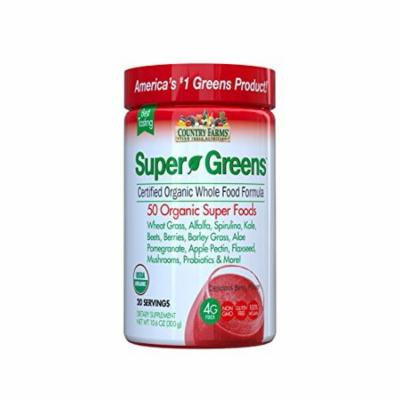 5 Pack Country Farms Super Green Drink Organic Berry Flavor 9.88oz Each