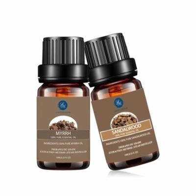 Myrrh Sandalwood 10ml Essential Oils Set,Natural Pure Aromatherapy Oils Therapeutic Grade Fragrance, Value 2 Pack For Massage And Relaxation