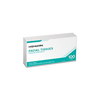 Highmark(R) 2-Ply Facial Tissue, Flat Box, White, 100 Tissues Per Box, Case Of 30 Boxes