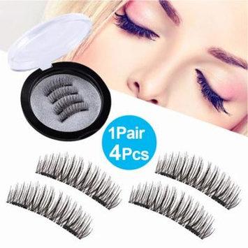 Natural Dual Magnetic Eyelashes Makeup -4Pcs Ultra Thin 3D Reusable Fiber Fake Lashes Extension, No Glue Needed