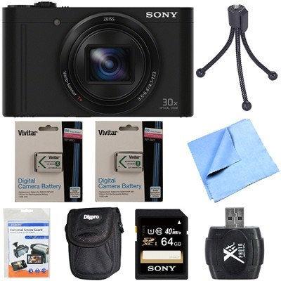 Sony Cyber-Shot DSC-WX500 Digital Camera 3-Inch LCD Screen Black 64GB Deluxe Bundle