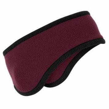 Port Authority C916 Two-Color Fleece Headband, Maroon, OSFA