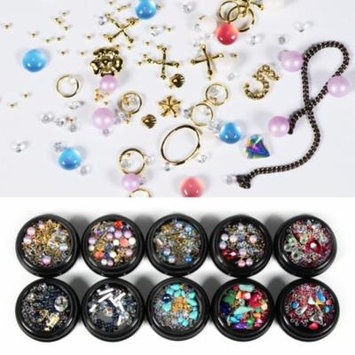 Colorful Round Nail Art Rhinestone Faux Pearl Decorations Basic Beauty Tool