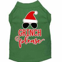 Grinch Please Screen Print Dog Shirt Green Sm (10)