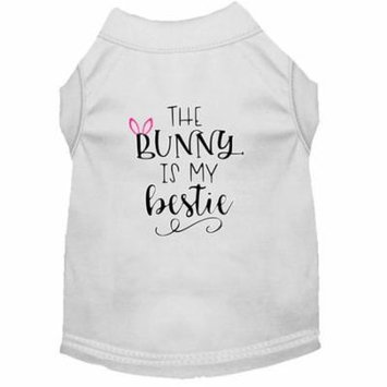 Bunny is my Bestie Screen Print Dog Shirt White XS (8)