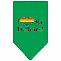 I Heart my Daddies Screen Print Bandana Emerald Green Large