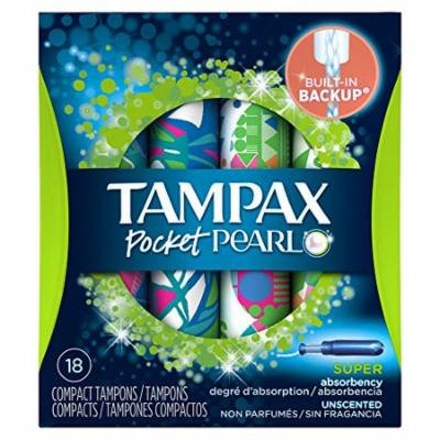 2 Pack Tampax Pocket Pearl Super Absorbency Compact Tampons Unscented 18 Each