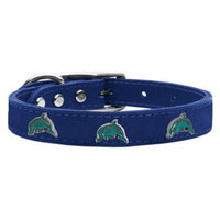 Dolphin Widget Genuine Leather Dog Collar Blue 20