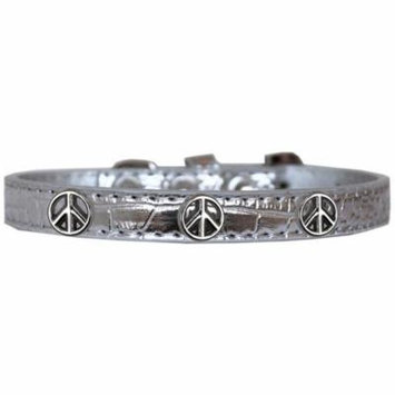 Peace Sign Widget Croc Dog Collar Silver Size 20