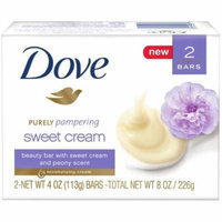 Dove Purely Pampering Sweet Cream and Peony Beauty Bar, 4 Oz, 2 Ct (Pack of 4)