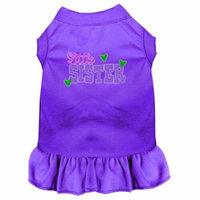 Little Sister Screen Print Dog Dress Purple 4X