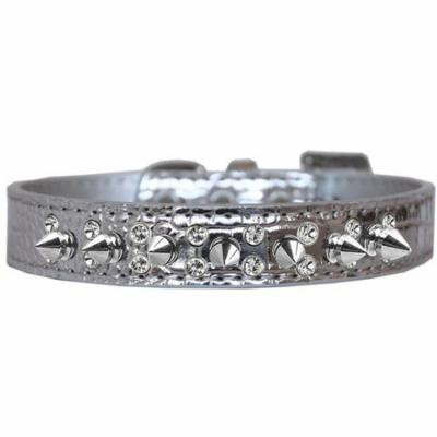 Double Crystal and Spike Croc Dog Collar Silver Size 16