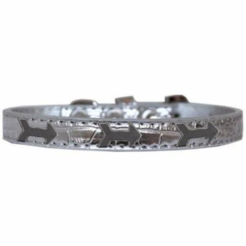 Arrows Widget Croc Dog Collar Silver Size 10