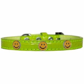 Happy Face Widget Croc Dog Collar Lime Green Size 16
