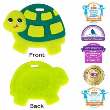 Silli Chews Baby Teethers Natural Silicone Teething Toy Green Sea Turtle Infant Chew Toy - Favorite Baby Teether Cute Holiday Gift Stocking Stuffer Idea