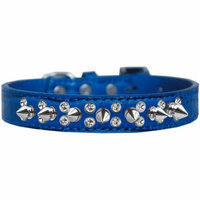 Double Crystal and Spike Croc Dog Collar Blue Size 16