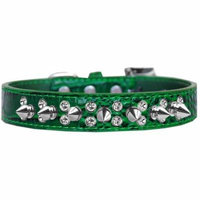 Double Crystal and Spike Croc Dog Collar Emerald Green Size 20