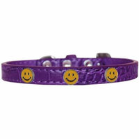 Happy Face Widget Croc Dog Collar Purple Size 18