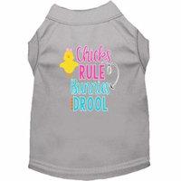Chicks Rule Screen Print Dog Shirt Grey XS (8)