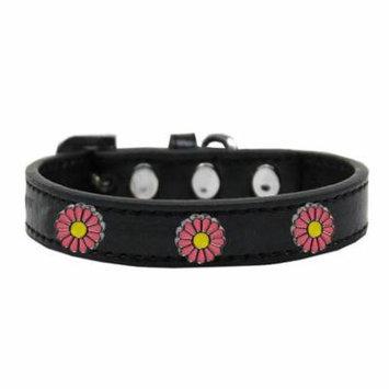 Pink Daisy Widget Dog Collar Black Size 18