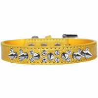 Double Crystal and Spike Croc Dog Collar Yellow Size 18