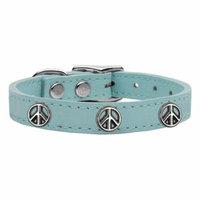 Peace Sign Widget Genuine Leather Dog Collar Baby Blue 14