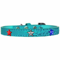 Red, White and Blue Star Widget Croc Dog Collar Turquoise Size 18
