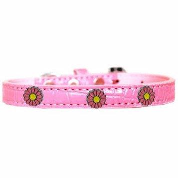 Pink Daisy Widget Croc Dog Collar Light Pink Size 12