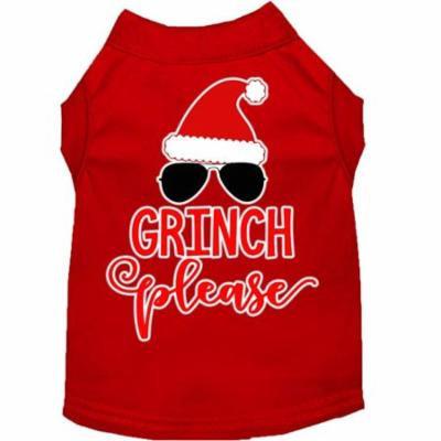 Grinch Please Screen Print Dog Shirt Red Sm (10)
