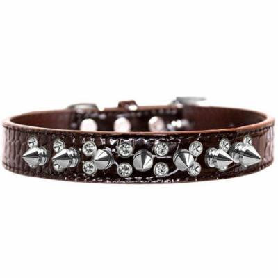 Double Crystal and Spike Croc Dog Collar Chocolate Size 18