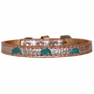 Dolphin Widget Croc Dog Collar Copper Size 16