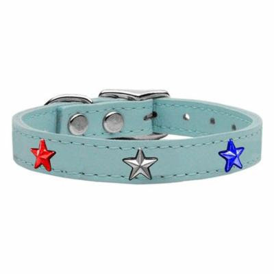 Red, White and Blue Star Widget Genuine Leather Dog Collar Baby Blue 18