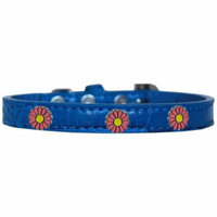 Pink Daisy Widget Croc Dog Collar Blue Size 18