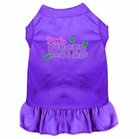 Little Sister Screen Print Dog Dress Purple Med