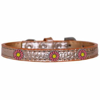 Pink Daisy Widget Croc Dog Collar Copper Size 12