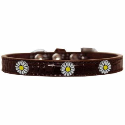 White Daisy Widget Croc Dog Collar Chocolate Size 10