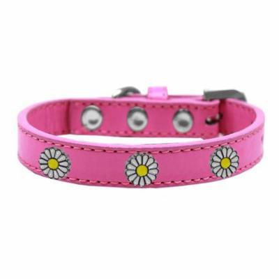 White Daisy Widget Dog Collar Bright Pink Size 20