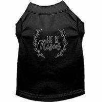He Is Risen Screen Print Dog Shirt Black Sm (10)
