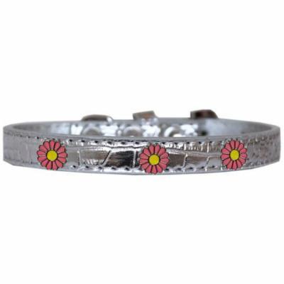 Pink Daisy Widget Croc Dog Collar Silver Size 20