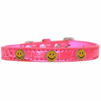Happy Face Widget Croc Dog Collar Bright Pink Size 16
