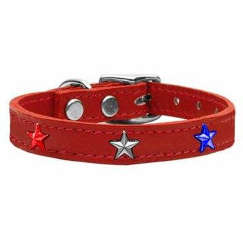 Red, White and Blue Star Widget Genuine Leather Dog Collar Red 24